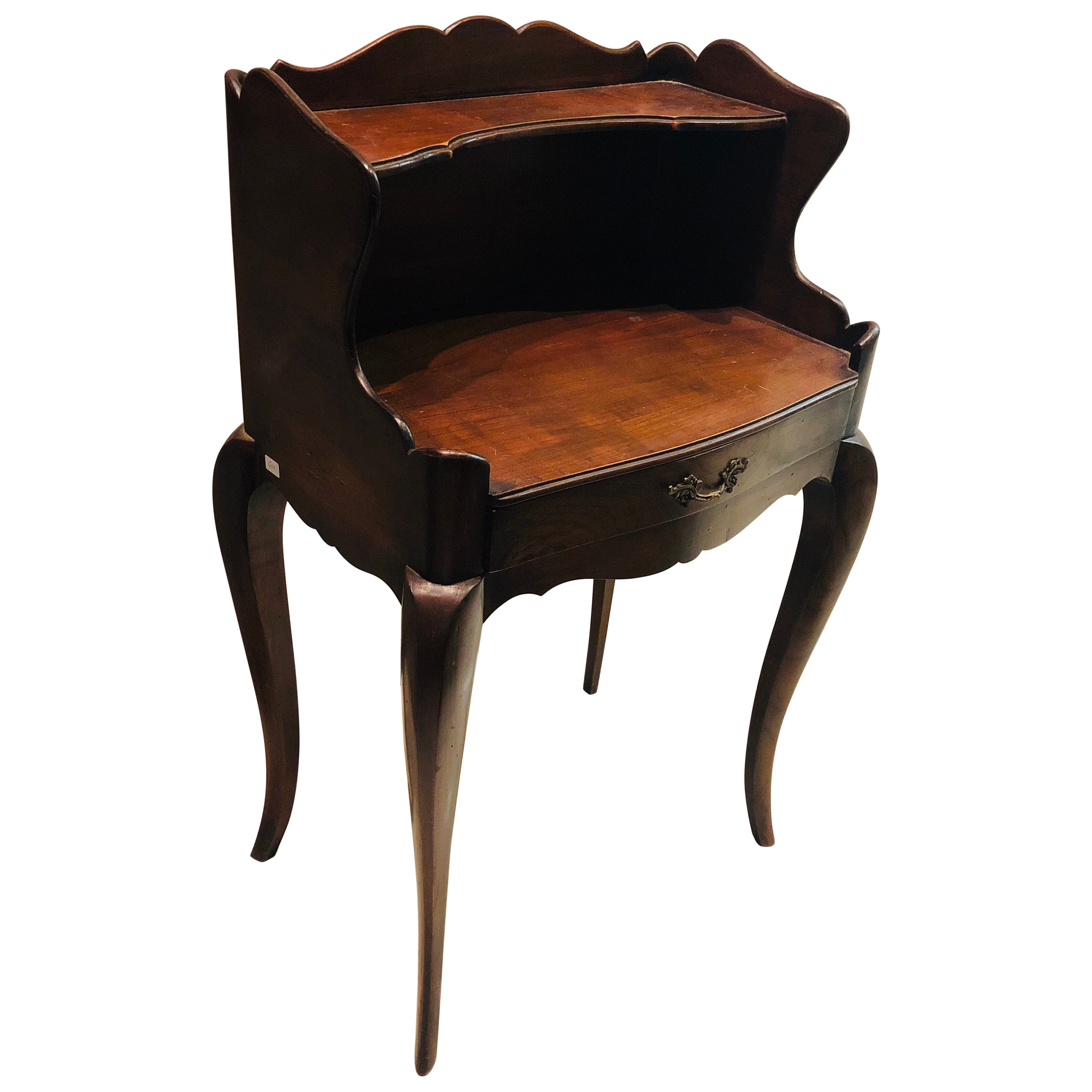 19th Century French Pair of Mahogany Nightstands Side Tables in Louis XV Style