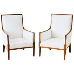 Pair of English Edwardian Armchairs or Library Chairs