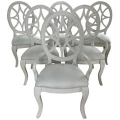 Pretty Set of 6 Oval Back Dove Grey Painted Dining Chairs