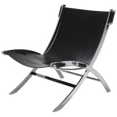 Paul Tuttle for Flexform lounge chair in chrome and black leather