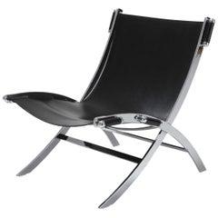 Paul Tuttle für Flexform Sessel in Chrom und schwarzem Leder