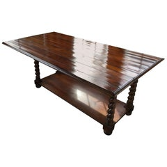 Versatile and Warmly Handsome Drop Leaf Cherry Farm Table with Barley Twist Legs