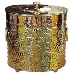 Arts & Crafts Copper and Brass Log Bin