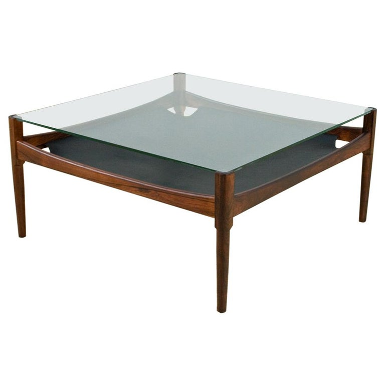 Scandinavian Modern Coffee Table in Rosewood and Glass by Kristian Vedel, 1960s For Sale