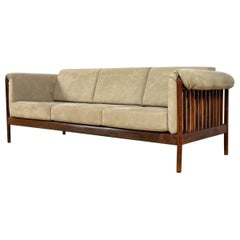 Mid-Century Modern Sofa in Rosewood and Alcantara by Johannes Andersen, Denmark
