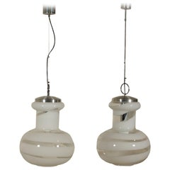 Pair of Ceiling Lamps Metal Blown Glass Vintage, Italy, 1960s-1970s