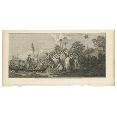 Antique Print of the Landing at Middelburg Island by Cook, 1803