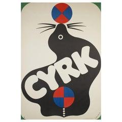 Original 1971 Polish CYRK, Circus Poster, Ball Balancing Seal by Treutler