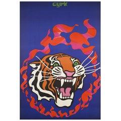 Original 1970 Polish CYRK 'Circus' Poster, Fire Tiger by Jodlowski