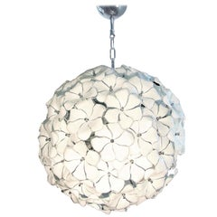 Large Murano White Flowers Chandelier, by Mazzega, Mid-Century Modern, 1970s