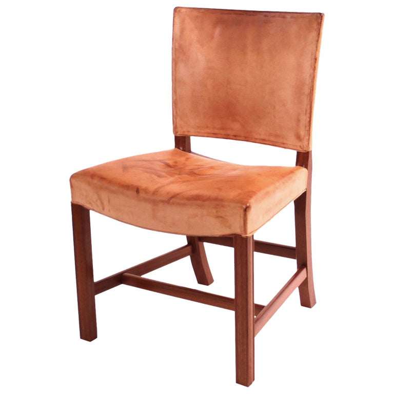 "Kaare Klint ""Red Chair"" in Patinated Natural Leather with Piping For Sale"