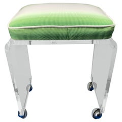 Small Mid-Century Modern Waterfall Lucite Stool or Bench on Wheels