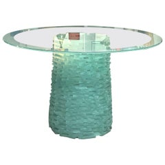 Murano Stacked Glass Modern Round Dining Table, 1980s