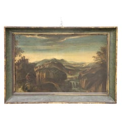 18th Century Italian Oil Painting on Canvas Landscape with Wayfarers with Frame