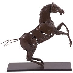 Cheval Cabré - 'Prancing Horse' sculpture in Patinated iron by Patrice Mesnier