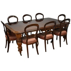 Victorian Mahogany Extending Dining Table & 8 Dining Chairs