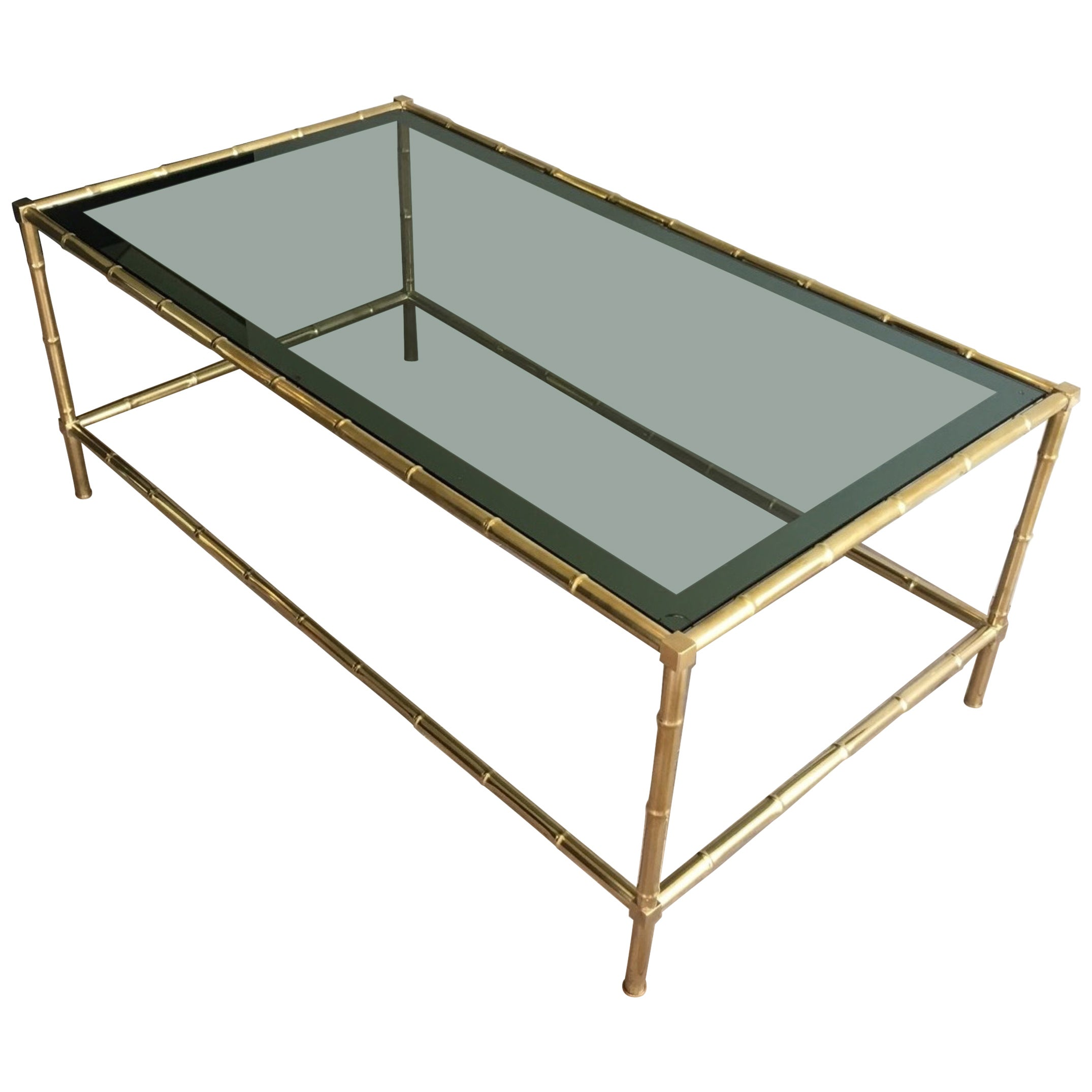 Faux-Bamboo Brass Coffee Table with Blueish Glass Top