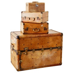 Set of Four Matching Steamer Trunk and Luggage