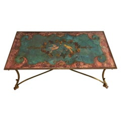Coffee Table with Beautiful Painting on Top Representing Birds and Flowers