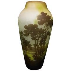 Emile Gallé Art Nouveau Lake Landscape Decoration Glass Vase, 1910s