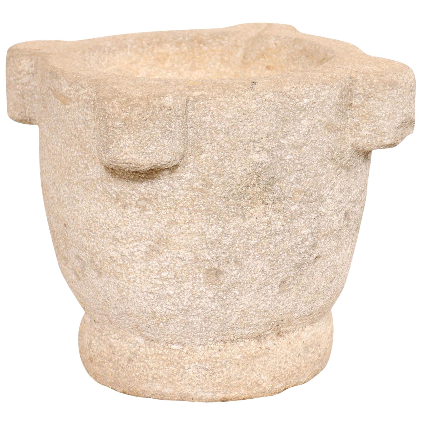 Spanish 18th Century Carved Stone Mortar