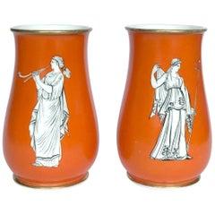 19th Century Pair Samuel Alcock  Neo-Classical Porcelain Vases