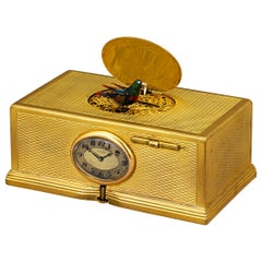 Gold-Plated Singing Bird Box and Clock