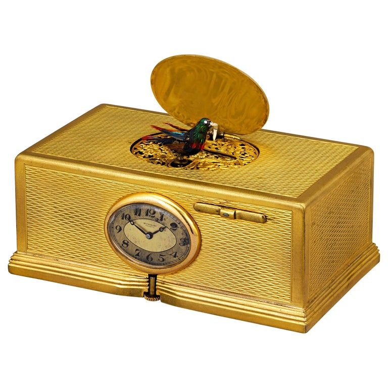Gold-Plated Singing Bird Box and Clock For Sale