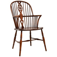 Antique Elm Spindle Wheel Back Windsor Armchair