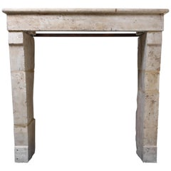 Antique Fireplace of French Limestone, 19th Century, Campagnarde Style