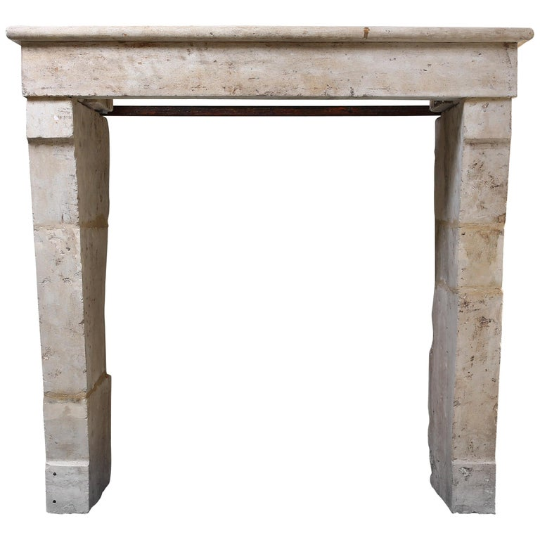 Antique Fireplace of French Limestone, 19th Century, Campagnarde Style For Sale