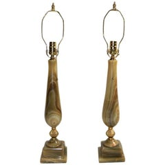 Pair of Large Onyx Table Lamps