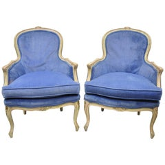 Pair of Distress Painted French Louis XV Style Blue Bergere Armchairs