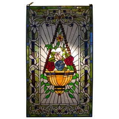 Large Art Nouveau Stained Glass Panel for a Window or Door