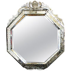 Venetian Hollywood Regency Octagonal Wall Mirror