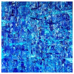 Marina 8 by Liora Textured Square Blue Abstract Canvas Contemporary Painting