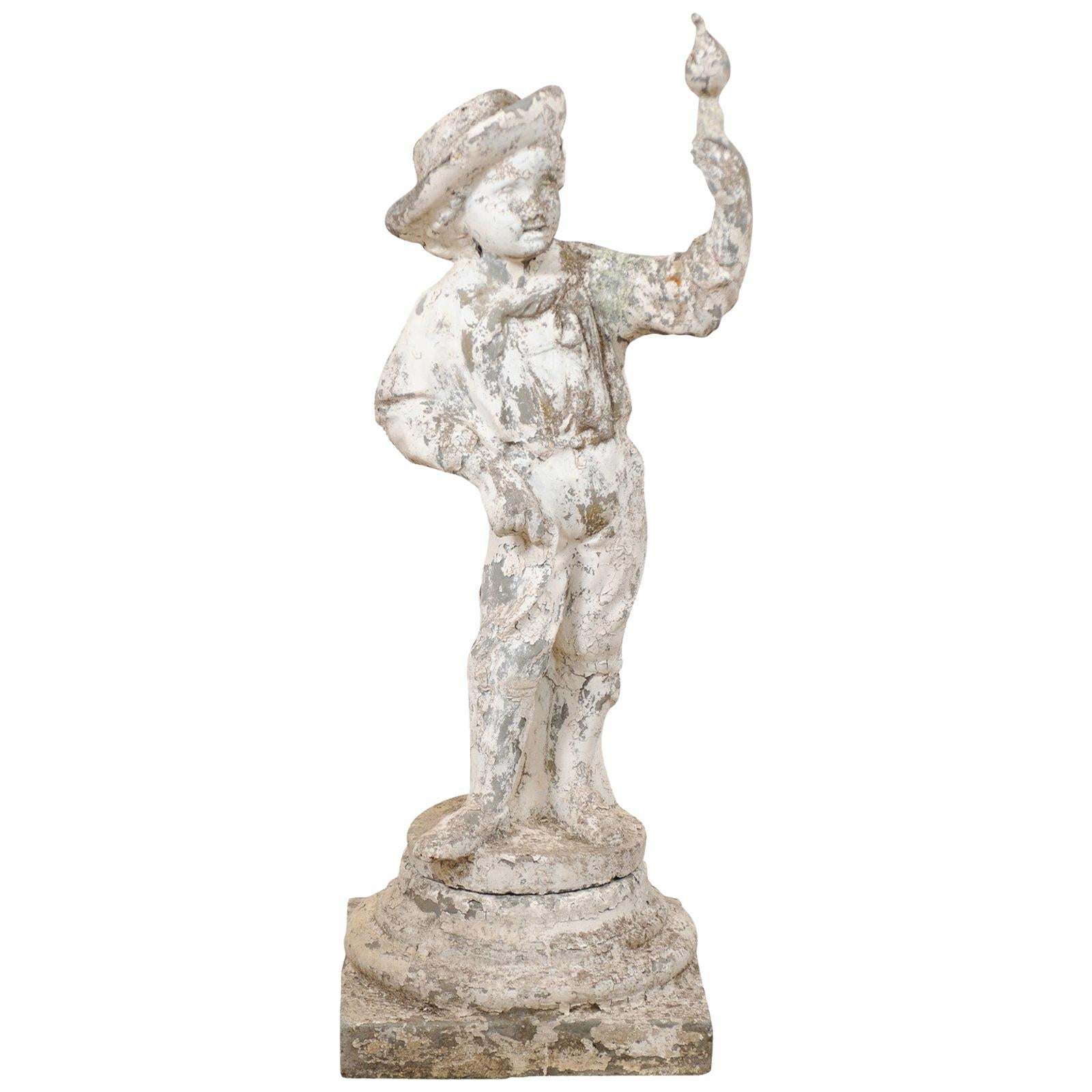 French Antique Cast-Stone Garden Sculpture of Boy with Bird, 4+ Ft in Height