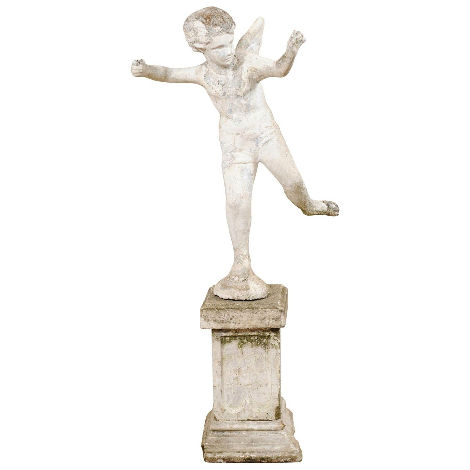 Early 20th Century French Antique Cupid Garden Statue