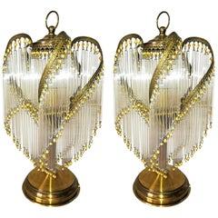 Paar französischen Art Deco, Art Jugendstil Bernstein Perlen Klarglas Stroh Tischleuchten