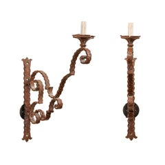 "Pair of 19th Century Italian Scrolling Iron Single Light Sconces, 34"" Tall"