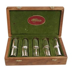 Set of 10 Silver Plated Cartridge Shell Drinking Tots and Butt Markers, 1970