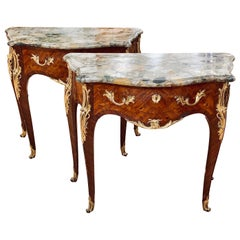 Pair of Louis XV Marquetry Marble Top Commodes or Consoles