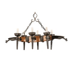 French Mid-20th Century Wood Beam and Iron Chandelier