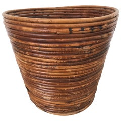 Bamboo Split Reed Rattan Waste Basket or Trash Bin