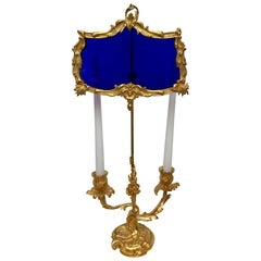19th Century Ormolu and Cobalt Glass Miracle Bouillotte Lamp