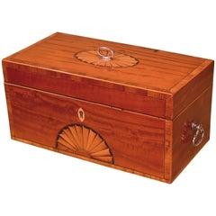 18th Century Sheraton Tulipwood and Satinwood Tea Caddy