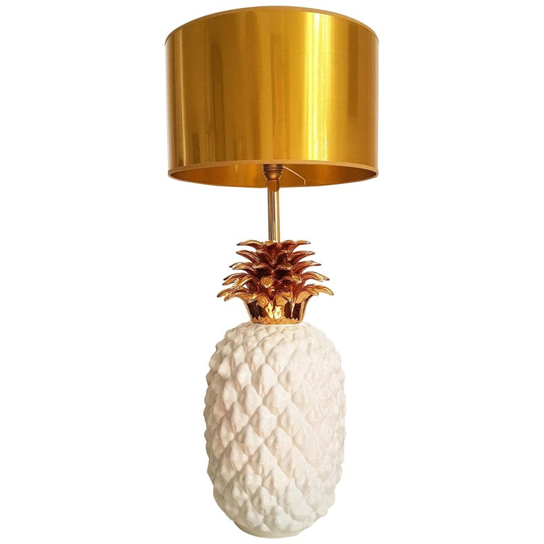 Large Mid-Century Modern Single Ceramic Pinapple Lamp, by Maison Lancel, Paris For Sale
