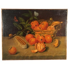 Still Life Painting, Oranges and Insects, French 19th Century