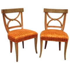 Pair of Hollywood Regency French Greek Key Side Distress Painted Orange Chairs