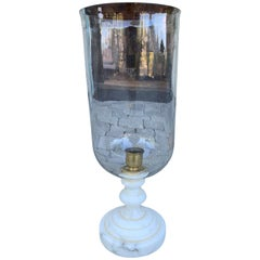 20th Century Marble Candlestick with Glass Hurricane Shade